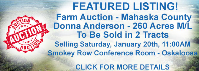 Farm Ground Auction � Donna Anderson Farm - 260 Acres M/L � Mahaska County, Iowa
